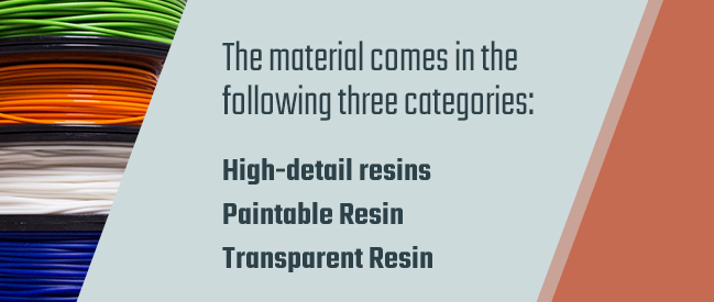 Types of resins used in 3D printing