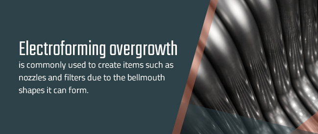 Use of electroforming overgrowth